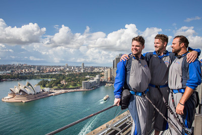 Diamondbacks pitcher Josh Collmenter and friends take in stunning views of Sydney Harbour from the Bridge Climb.  (PRNewsFoto/Destination New South Wales)