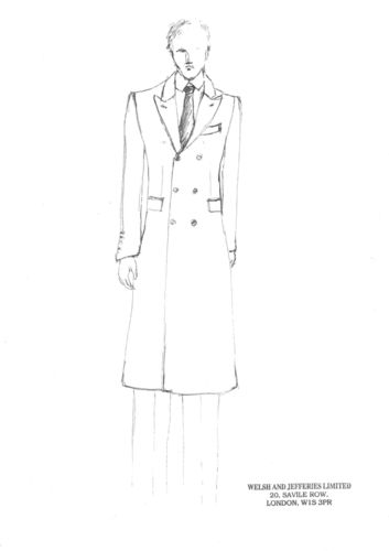 Sketch of Welsh & Jefferies coat, part of The English Gentleman presentation in collaboration with The Woolmark Company (PRNewsFoto/The Woolmark Company)
