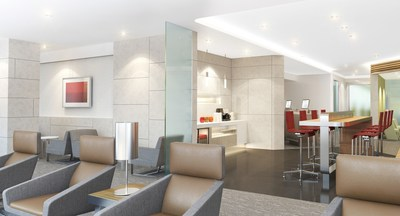 Rendering of future Admirals Club lounge depicts potential design elements and color palette. Courtesy James Park Associates.
