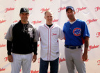"Managers Dale Sveum of the Cubs and Robin Ventura of the White Sox Meet for the First Time to Announce the Fisher(r) Nuts ""Freshness You Can Win"" Campaign with Brendan Honan, Director of Brand Marketing, John B. Sanfilippo & Son, Inc.  (PRNewsFoto/Fisher Nuts)"