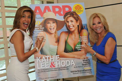Hoda Kotb and Kathie Lee Gifford at the unveiling of their AARP The Magazine cover on June 3, 2013, at Le Bernardin New York City.  (PRNewsFoto/AARP)