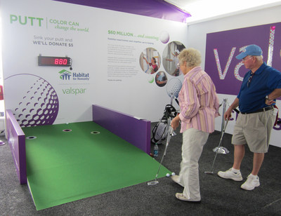 """The Valspar Foundation will donate $5 up to $15,000 to Twin Cities Habitat for Humanity for every putt made at the """"Valspar's Putt for Habitat Challenge"""" at the 3M Championship July 31 - August 2. Fans will find the putt challenge exhibit in the Family Fun Zone located behind the 18th green of the Tournament Players Club in Blaine, Minnesota. Admission to the 3M Championship and participation in the putting challenge are free. """"Valspar has been a tremendous partner in helping us give families a brighter future,"""" said Susan Haigh, President and CEO, Twin Cities Habitat for Humanity."""