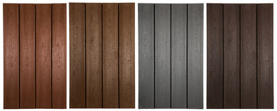 TAMKO's new Envision Expression line of single-color capped decking boards (left to right): Canyon Ridge, Caribou Brown, Harbor Grey and Woodland Bark.