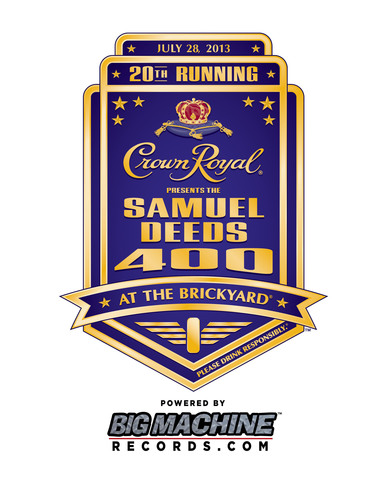 The official logo of this summer's NASCAR Sprint Cup Series race at Indianapolis Motor Speedway on Sunday, July 28, 2013 is titled Crown Royal Presents the Samuel Deeds 400 at the Brickyard Powered by BigMachineRecords.com.  (PRNewsFoto/Diageo)