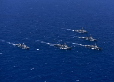 USS John Paul Jones (DDG 53), USS Shoup (DDG 86), Japan's Chokai (DDG 176), the Republic of Korea's Sejung The Great (DDG 991) and Gang Gam Chan (DDH 979) steam in formation during exercise Pacific Dragon 2016 in June. Pacific Dragon is a trilateral Ballistic Missile Defense tracking event between the U.S. Navy, Japan Maritime Self Defense Force and Republic of Korea Navy. (U.S. Navy photo by Mass Communication Specialist 3rd Class Holly L. Herline/Released)