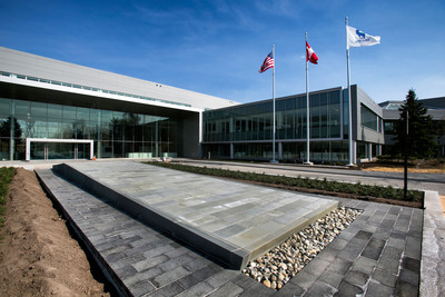Exterior of Novo Nordisk's new U.S. headquarters in Plainsboro, N.J. The world-class building is the result of a $225 million redevelopment project, which utilized an existing structure and sustainable materials to limit environmental impact.  (PRNewsFoto/Novo Nordisk)
