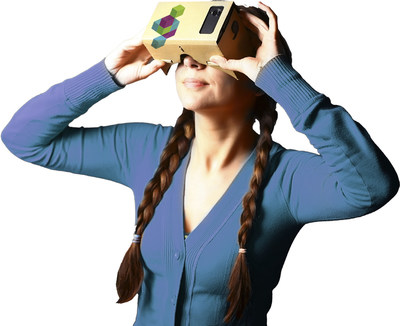 Student taking virtual reality campus tour