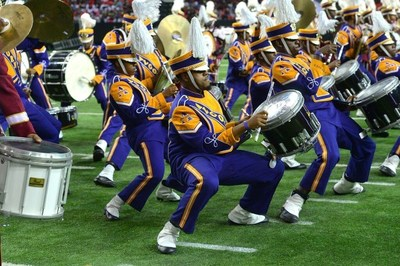 For the first time in HBOB history, an eight-band drumline closed the show