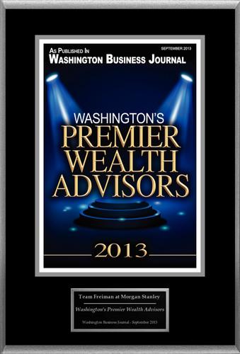 "Team Freiman at Morgan Stanley Selected For ""Washington's Premier Wealth Advisors"". (PRNewsFoto/Team Freiman at Morgan Stanley) (PRNewsFoto/TEAM FREIMAN AT MORGAN STANLEY)"