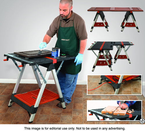 Woodcraft product manager Ben Bice applies finish to a cabinet door, using a single QuikBENCH. The bench's built-in power strip and uses for multiple benches are also pictured. (PRNewsFoto/Woodcraft)