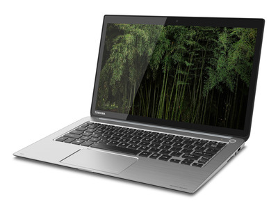 The Toshiba KIRAbook(TM) is an all-new Ultrabook(TM) featuring the company's first ultra-high resolution PixelPure(TM) display and a striking new lightweight and compact design precision engineered with AZ91 pressed magnesium alloy.  (PRNewsFoto/Toshiba Corporation)