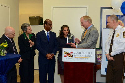 Maryland Comptroller, Peter Franchot presents the 2015 William Donald Schaefer Helping People Award to Tammy Darvish. Looking on from left to right are Jeffery Slavin, Mayor of Sommerset, MD, Maryland State Senator, Cheryl Kagan, Montgomery County Executive, Ike Leggett and far right, Montgomery County Sheriff, Darren Popkin