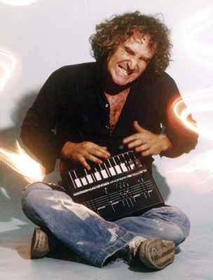 Mike Matthews, Electro-Harmonix President and Founder, pictured with an original Mini-Synthesizer circa 1980. Electro-Harmonix has released a mobile app version of this early electronic synthesizer keyboard.