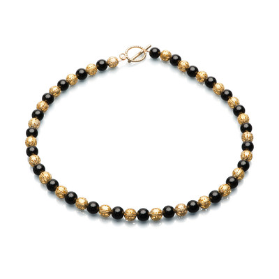 Artistic Falls Black Oness and Gold Tone Bead Necklace
