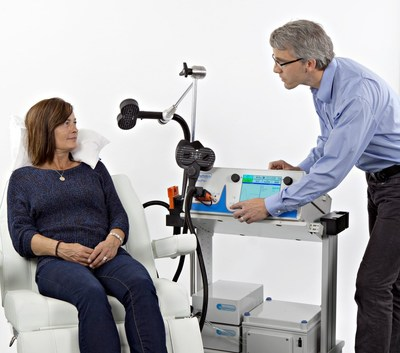 The MagVita TMS Therapy system from MagVenture which is here seen, has of July 31 2015 been cleared by the US Food and Drug Administration for the treatment of Major Depressive Disorder in adult patients who have failed to receive satisfactory improvement from prior antidepressant medication in the current episode. (PRNewsFoto/MagVenture)