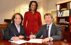 From L-R, Alejandra Y. Castillo, MBDA's National Director, Candace Shiver, MBDA's Special Advisor and Kenneth Beck, Chief Executive Officer of CEO Connection, sign the MOU in Washington, D.C.