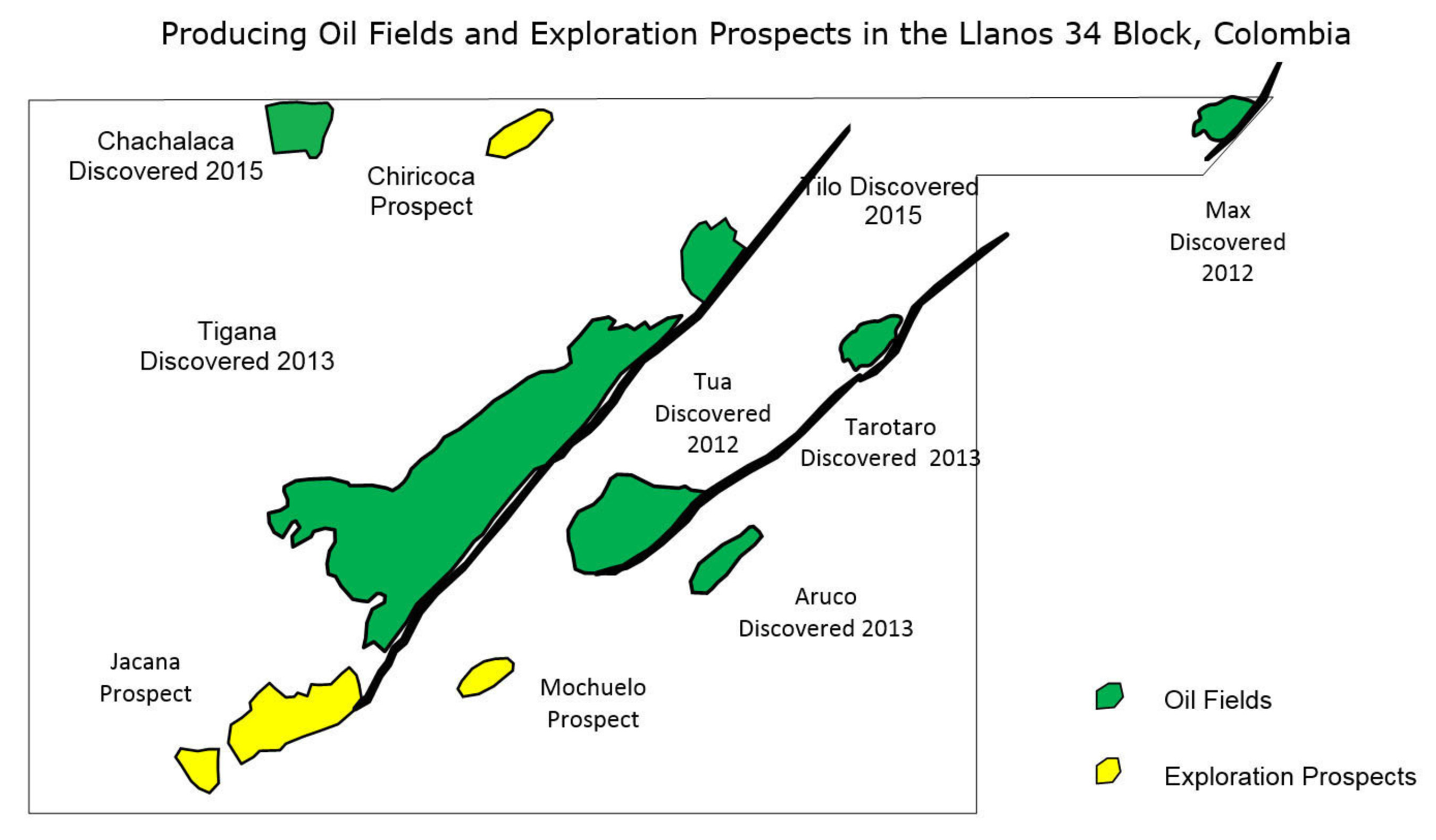 Producing Oil Fields and Exploration Prospects in the Llanos 34 Block, Colombia