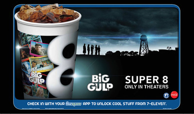 The Super 8 movie plays a role in 7-Eleven(r) stores' fountain soft drink offering this month. The convenience retail chain's Big Gulp(r) machine promotes what is expected to be one of this summer's hottest films.  (PRNewsFoto/7-Eleven, Inc.)