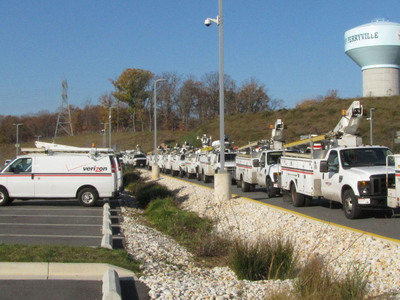 Additional Verizon work crews head north from Perryville, Md., to help reconnect customers in hard-hit New Jersey.  (PRNewsFoto/Verizon)