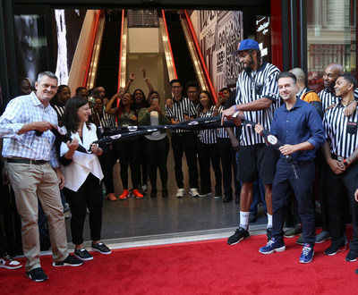 (L - R) Foot Locker EVP/CEO Jake Jacobs, SIX:02 VP/General Manager Natalie Ellis, NY Knicks player Joakim Noah, and Foot Locker VP/General Manager Andy Gray celebrate the Foot Locker 34th Street Grand Opening on Tuesday, Aug. 30, 2016 in New York. (Bennett Raglin/AP Images for Foot Locker)