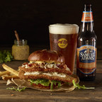 Hard Rock Cafe's Samuel Adams OctoberFest Schnitzel Burger features a lightly breaded tender pork schnitzel, Samuel Adams OctoberFest-infused beer cheese sauce, topped with smoked bacon, tangy sauerkraut, whole grain mustard and fresh arugula, served on a pretzel bun. The burger and beer pairing is available at locations across the country from September 22 through October 31.