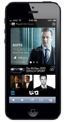 USA Network Suits Page on Mobile Devices.  (PRNewsFoto/USA Network)
