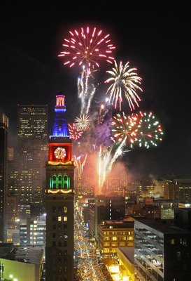 Two free New Year's Eve fireworks shows will explode above Denver's 16th Street Mall at 9 p.m. and midnight on December 31.  (PRNewsFoto/VISIT DENVER, The Convention & Visitors Bureau)