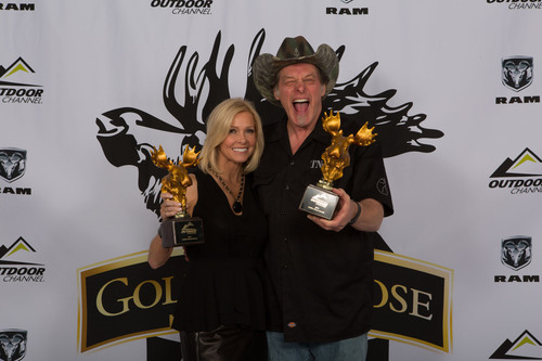 """Ted and Shemane Nugent from """"Ted Nugent Spirit of the Wild"""" on Outdoor Channel, winners of the Fan Favorite Best Overall series Golden Moose Award. (PRNewsFoto/Outdoor Channel) (PRNewsFoto/OUTDOOR CHANNEL)"""