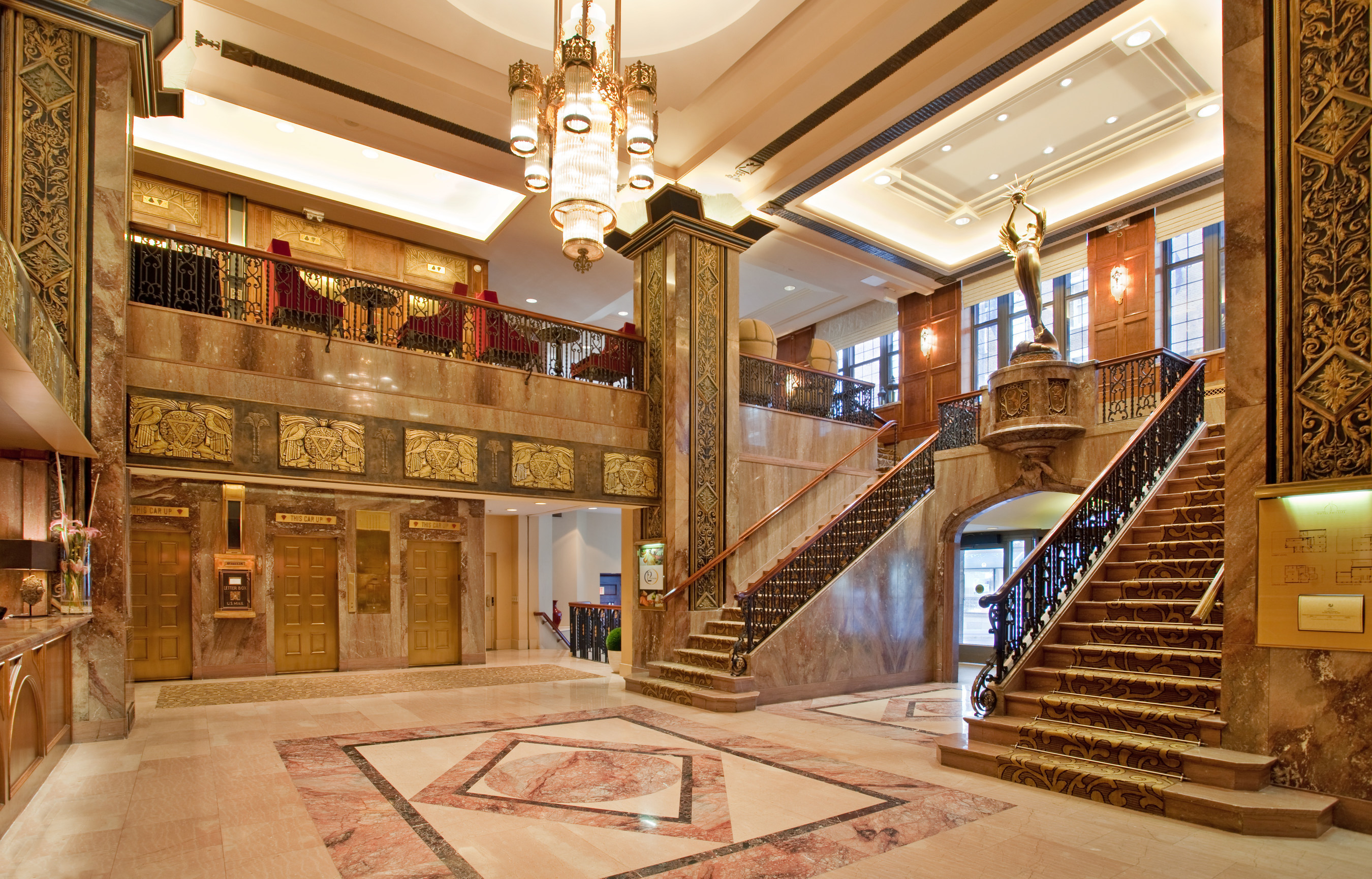 Arbor Lodging Partners has acquired Kansas City's historic Hotel Phillips. The hotel's dramatic art deco lobby is pictured. NVN Hotels is now the hotel's management company, as Arbor Lodging Partners launches an extensive renovation and property revival. Upon completion, the hotel will join the Curio Collection by Hilton, a collection of unique hotels appealing to travelers seeking local discovery.