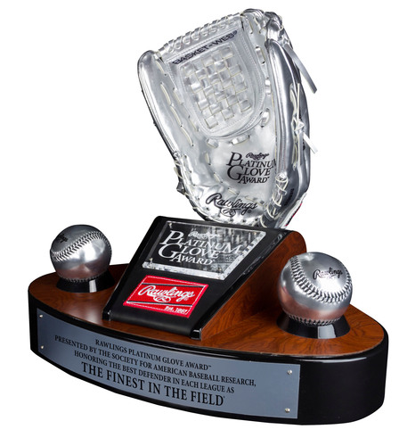 The 2013 Rawlings Platinum Glove Award presented by SABR trophy. (PRNewsFoto/Rawlings Sporting Goods Company, ...