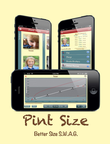 The growth chart, clothing sizes, and family view screens show how Pint Size focuses on discovering the current clothing size and how long a child will stay in that size.  (PRNewsFoto/Crazed Kitty Software)