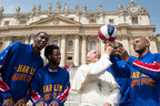 STARTING FIVE: In celebration of their upcoming 90th anniversary tour, the iconic Harlem Globetrotters met with Pope Francis and named him just the ninth Honorary Harlem Globetrotter in team history on May 6, 2015, at St. Peter's Square. The accolade recognizes an individual of extraordinary character and achievement who has made an everlasting mark on the world. Pictured (l-r): Hi-Lite Bruton, Ant Atkinson, Pope Francis, Big Easy Lofton, Flight Time Lang. Photo (c) L'Osservatore Romano Foto.