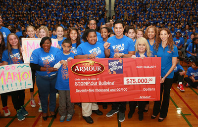 Armour(R) Partners with STOMP Out Bullying(TM) to Host Anti-Bullying Pep Rally. Mario Lopez, Extra! TV Show Host, Speaks with Albert Leonard Middle School Students on Blue Shirt Day(R) World Day of Bullying Prevention. (PRNewsFoto/Armour)