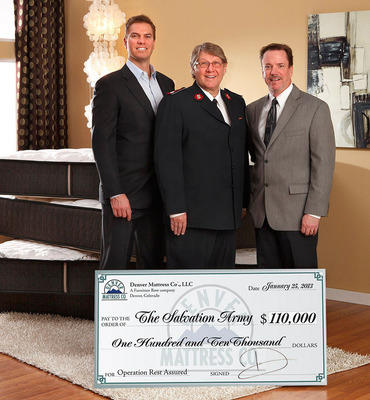 Dan Visser / President Denver Mattress Company, Lt. Colonel Daniel Starrett / Divisional Commander The Salvation Army, Joe Sparks / National Sales Manager The Denver Mattress Company.  (PRNewsFoto/Denver Mattress Company)