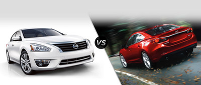 How does the 2015 Nissan Altima compare to the competing 2015 Mazda6? Find out with help from Robbins Nissan! (PRNewsFoto/Robbins Nissan)