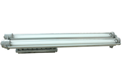 The EPL-48-216 fixture is a 4 foot long, 4 lamp, UL listed Class 1 Division 1 and Class 2 Division 1 & 2 explosion proof fluorescent light which is also approved for use in paint spray booth applications. This T6 temperature rated fixture comes standard with four T5 high output fluorescent lamps. The lamps are protected by heat and impact resistant Pyrex tubes and the fixture is constructed of copper free aluminum alloy.  (PRNewsFoto/Larson Electronics)