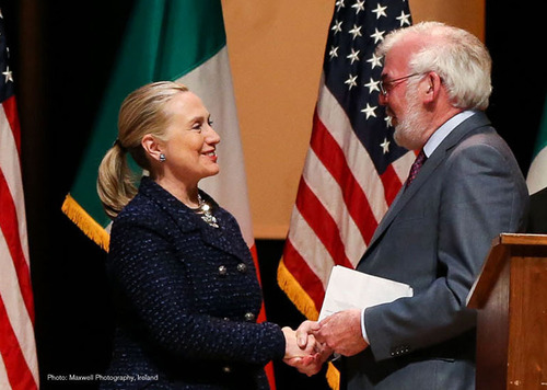 U.S. Secretary of State Hillary Clinton receives inaugural humanitarian award from Concern Worldwide CEO Tom ...