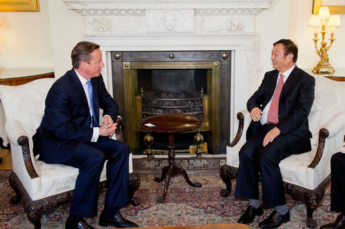 David Cameron, Prime Minister, meets Ren Zhengfei, founder and CEO of Huawei Technologies, in Downing Street, ...