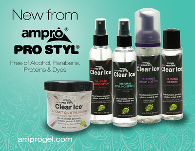 Introducing Ampro Pro Styl's NEW Clear Ice Line - Free of Alcohol, Protein, Parabens and Dyes! Available Nationwide Now! (PRNewsFoto/Ampro Industries, Inc.)