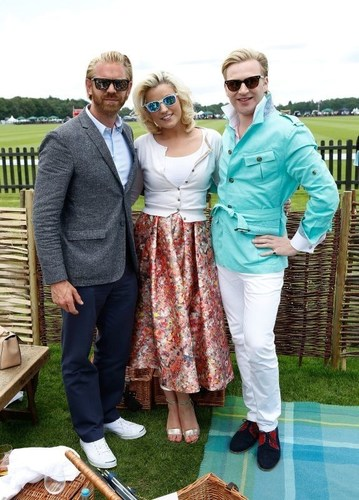 (L-R) Alistair Guy, Natalie Coyle and Henry Conway attend The Royal Salute Coronation Cup at Guards Polo Club ...