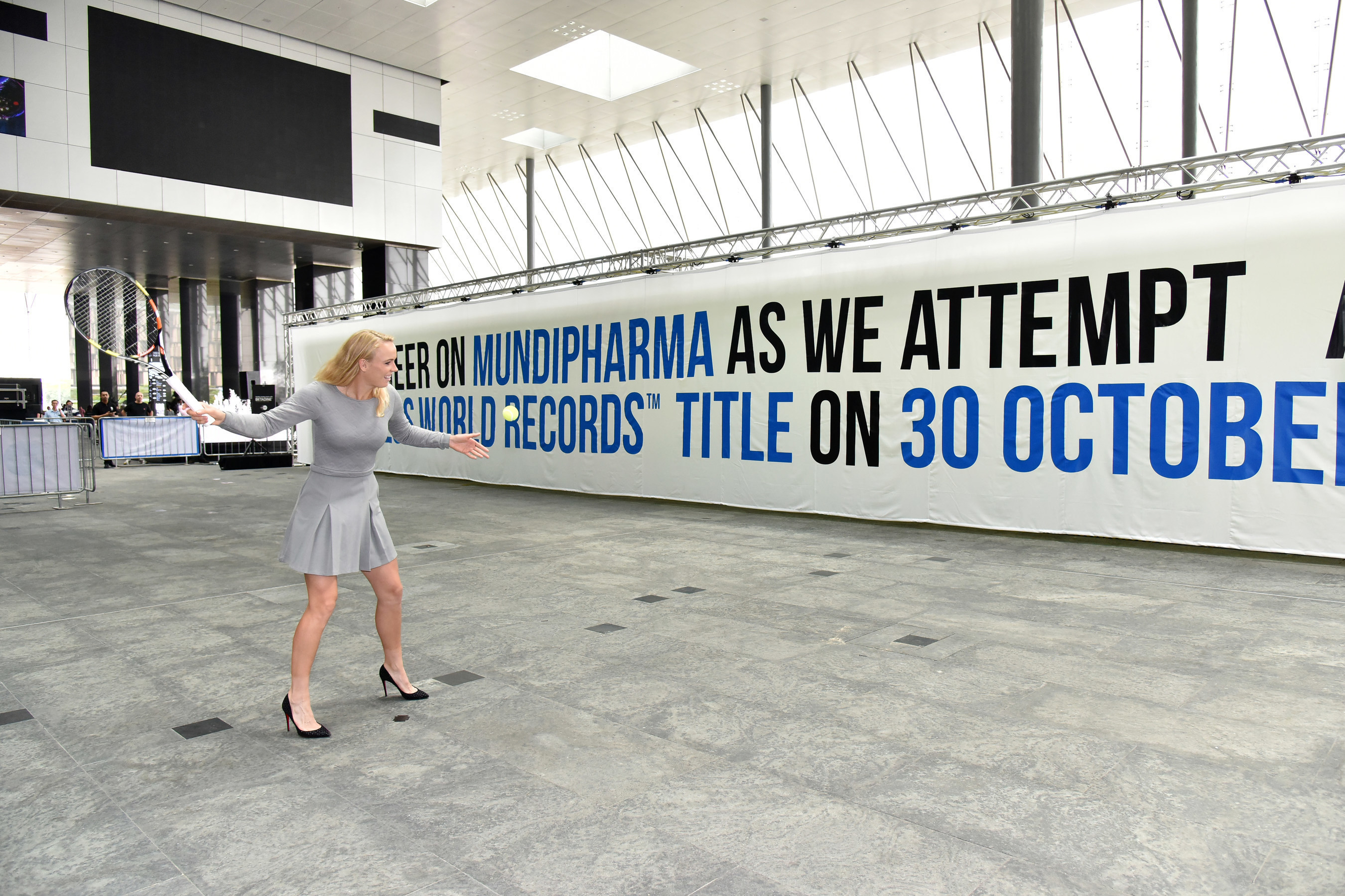 International Tennis Star Caroline Wozniacki unveils the new GUINNESS WORLD RECORDS(TM) title for the largest ...