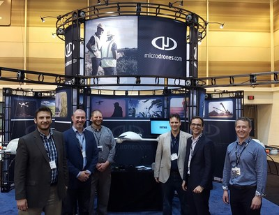 Pictured L-R, The microdrones team: Mike Dziok, Marketing Director; Sebastien Long, Sales Director, Services; Chuck Dorgan, Sales Director; Sven Juerss, CEO; Vivien Heriard-Dubreuil, President; Mike Hogan, Business Development Director.