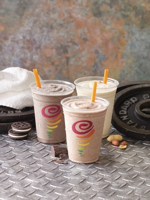Jamba Protein Smoothies are packed full of protein and made of delicious ingredients, including real fruit, and are fortified with calcium, riboflavin and phosphorus. They are available in three flavors: Cookies 'n Creme Protein, Chocolate Protein, and PB & Banana Protein.