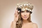 Former Miss Universe NL Stephanie Tency wearing the Beautycap to protect her hair at night.