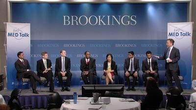 Dr. Mark McClellan, Director of the Engelberg Center's Initiative on Innovation and Value in Healthcare at Brookings leads the discussion on the Merkin Initiative on Clinical Care and Payment Reforms. (PRNewsFoto/Heritage Provider Network, Inc.)