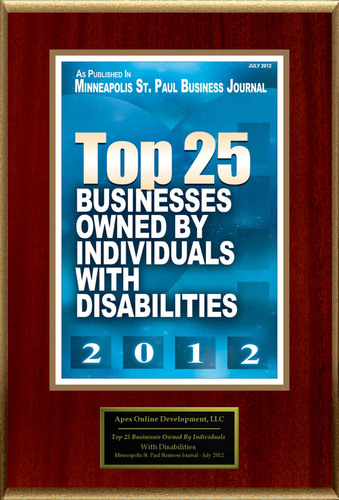 "Apex Online Development Selected For ""Top 25 Businesses Owned By Individuals With Disabilities"".  (PRNewsFoto/Apex Online Development)"