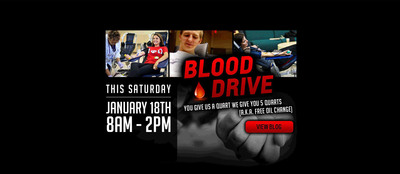 Participate in the Bill Jacobs Auto Blood Drive Jan. 18 and receive a voucher for a free oil change at the Joliet dealership.  (PRNewsFoto/Bill Jacobs Automotive Group)