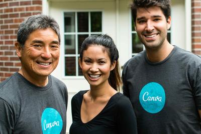 Guy Kawasaki (Chief Evangelist), Melanie Perkins (CEO) and Cliff Obrecht (COO).  (PRNewsFoto/Canva)