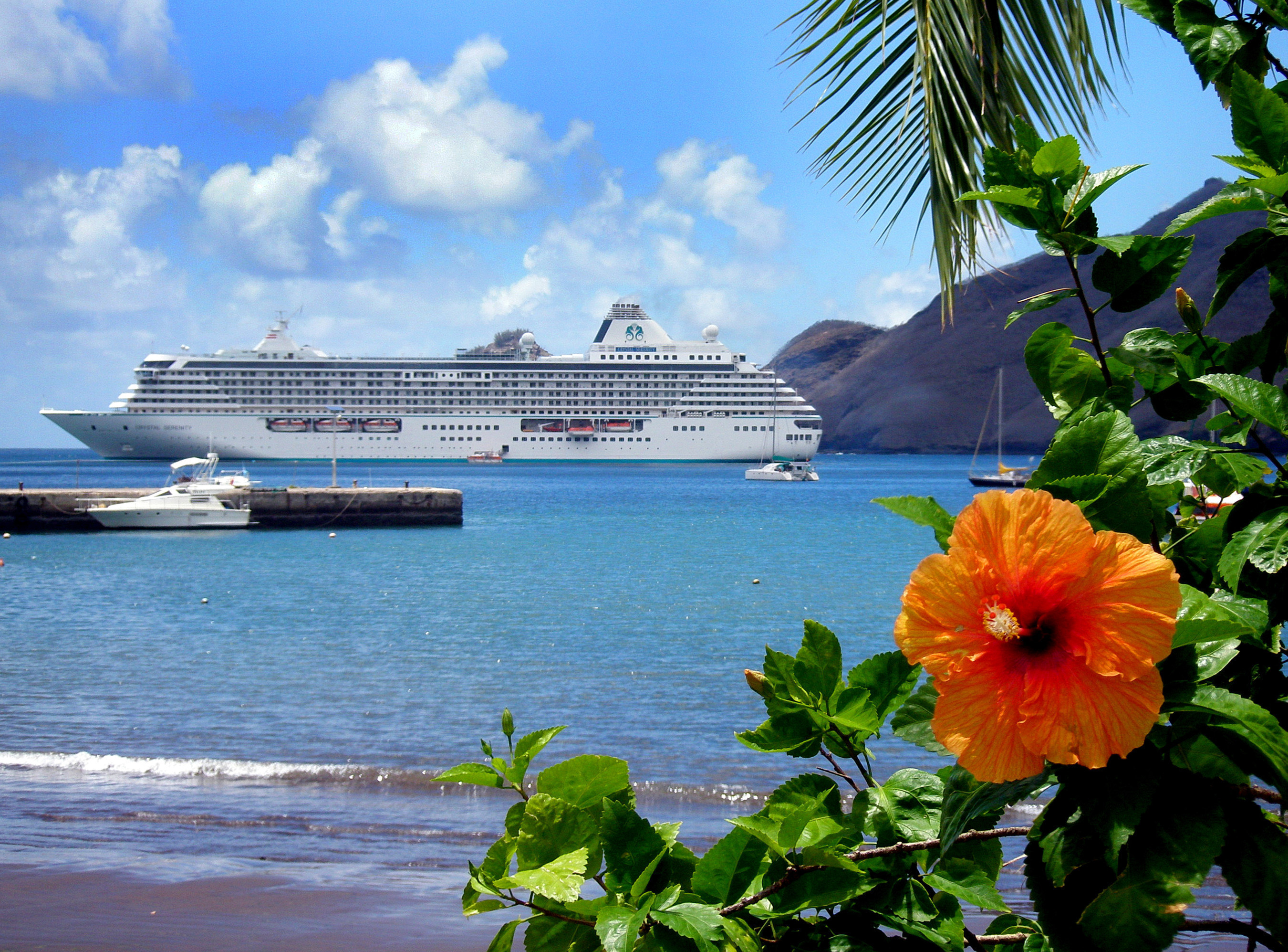 Crystal Serenity off the coast of the Hawaiian Islands