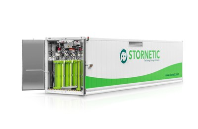 The energy storage company STORNETIC is launching its first megawatt energy storage unit. The 'DuraStor(R)1000' is a decisive step into a new output category. The flywheel-based unit enables STORNETIC clients to transform electrical energy into rotation energy and store it (PRNewsFoto/STORNETIC) (PRNewsFoto/STORNETIC)